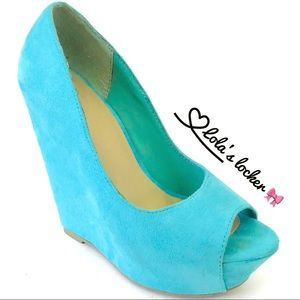 Peep Toe Wedge Faux Suede Sandals Delicious Shoes